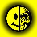 Smiley Face Skull Yellow Shadow by Tony Rubino
