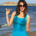 Smiling Hottie At The Beach by Travis Rogers