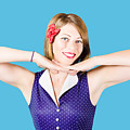 Smiling Retro Woman Showing Lipstick Makeup by Jorgo Photography - Wall Art Gallery