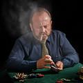 Smoker Shuffling Cards by Peter Hayward Photographer