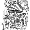Snail On Mushroom For Coloring  by Robin Maria Pedrero