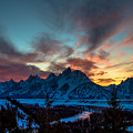 Snake River And Tetons At Sunset by Cameron Knudsen
