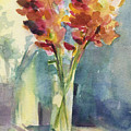Snapdragons In Morning Light Floral Watercolor by Beverly Brown