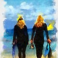 Snorkeler Twins  by Carrie OBrien Sibley