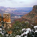 Snow And Pillar - Grand Canyon by Larry Ricker