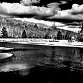 Snow At The River - Bw by David Patterson