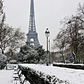 Snow Carpets Benches And Eiffel Tower by Jade and Bertrand Maitre