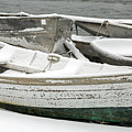 Snow Covered Dinghies by Karin Pinkham