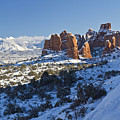 Snow-covered Fins And La Sal Mountains by Colin D Young