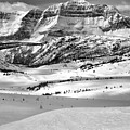 Snow Drifts At The Base Of The Rockies Black And White by Adam Jewell