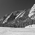 Snow Dusted Flatirons Boulder Co Panorama Bw by James BO  Insogna