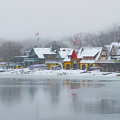 Snow Falling On Boathouse Row by Bill Cannon