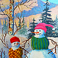 Snow Mom And Son by Teresa Ascone