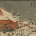 Snow Scene At Sens Ji Temple At Kinry Zan In The Eastern Capital by Eisen Keisai
