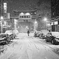 Snow Storm In Chinatown Boston Chinatown Gate Black And White by Toby McGuire