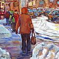Snowbanks On St Lawrence Winter Walking To Schwartz Deli Montreal Painting C Spandau Canadian Artist by Carole Spandau