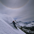 Snowboarding Down A Peak In Yosemite by Bill Hatcher