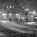Snowfall In Harvard Square Cambridge Ma 2 Black And White by Toby McGuire