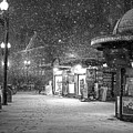 Snowfall In Harvard Square Cambridge Ma Kiosk Black And White by Toby McGuire