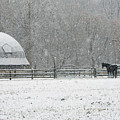 Snowing At The Round Barn by Regine Brindle