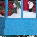 Snowman And Poinsettias - Frosty Christmas by Mitch Spence