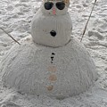 Snowman On The Beach by Gayle Miller