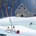 Snowmen On Hockey Pond by Thomas Griffin