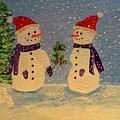 Snow-people At Christmas by Karen Jane Jones
