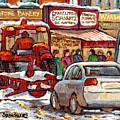 Snowplow Winter Scene Painting For Sale 80 Bus To Schwartz Deli C Spandau Richstone Warshaw Art      by Carole Spandau