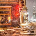 Snowstorm On Tremont Street Boston Ma Park Street Church by Toby McGuire