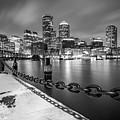 Snowy Boston Harbor And Skyline by Kristen Wilkinson