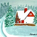 Snowy Cottage by Philomena Dunne
