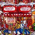 Snowy Hockey Game Schwartz's Deli Montreal Landmarks Winterscene Paintings For Sale C Spandau Artist by Carole Spandau