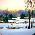 Snowy Landscape Scene by Larry Hamilton