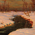 Snowy Landscape With A River At Sunset By Ivan Fedorovich Choultse by Ivan Fedorovich Choultse