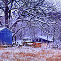 Snowy Outbuildings And Old Truck by Anna Louise