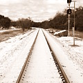 Snowy Railroad In Sepia by James Granberry