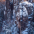 Snowy Rocks. Saxon Switzerland by Jenny Rainbow