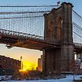 Snowy Sunset Under The Brooklyn Bridge by Alissa Beth Photography
