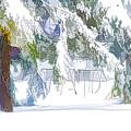 Snowy Trees In Winter Landscape  by Jeelan Clark