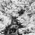 Snowy Waterfall In The Peak District In Derbyshire by Neil Alexander