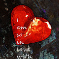 So In Love With You - Romantic Red Heart Painting by Sharon Cummings