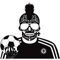 Soccer Skull Icon Background With Sunglasses And Ball. by Tea Brncic