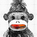 Sock Monkey Art In Black White And Red - By Sharon Cummings by Sharon Cummings