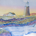 Soft Blue And A Light House by MaryBeth Minton