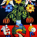 Softvase With Flowers And Figures by Alan Kenny
