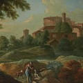 Soldiers And Dogs Near A River by Marcantonio