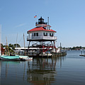 Solomons Island - Drum Point Lighthouse Reflecting by Ronald Reid
