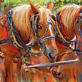 Solvang California Horse Drawn Wagon Art by Lourry Legarde