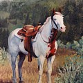 Sophie Flinders Paint Mare Horse Portrait Painting by Kim Corpany